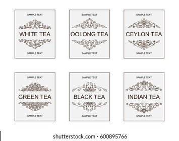 Vector labels, badges or banners for different grades of tea. Vintage ornate style. Emblems for white, oolong, Ceylon, green, black, indian tea packages. Lovely art for each grade