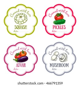 Vector labels set with hand drawn vegetable. Templates for design can be used as sticker on canned jar, preserving, farmers market, food store. Squash, tomatoes, mushroom, eggplant, pepper, cucumber