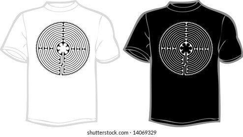 vector labyrinth from Chartres Cathedral floor on T shirt