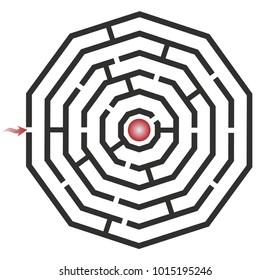 Vector labyrinth. Decagon maze game illustration