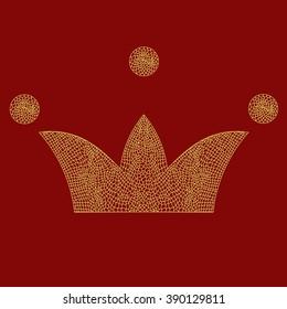 Vector lace crown, art royal symbol. Imperial theme classic design element. Doodle.