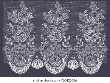 Vector lace floral pattern. Growing a bouquet of flowers on the mesh. Hem the texture of the tulle