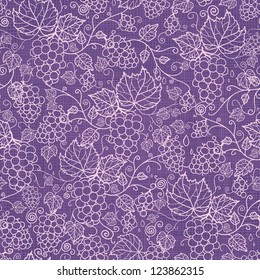 Vector lace grape vines seamless pattern background with hand drawn elements