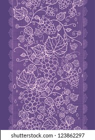 Vector Lace grape vines vertical seamless pattern background ornament with hand drawn elements
