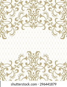 Vector lace pattern in Eastern style on scroll work background. Ornate element for design. Place for text. Ornamental pattern for wedding invitations, greeting cards.Traditional outline decor.