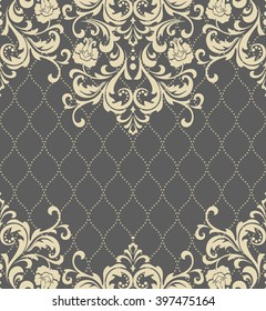 Vector lace pattern in Eastern style on scroll work background. Ornate element for design. Place for text. Ornamental pattern for wedding invitations, greeting cards. Seamless background.