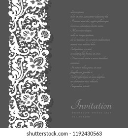 Vector lace ribbon with floral ornament, white crochet border pattern on neutral background, elegant cutout decoration for wedding invitation card
