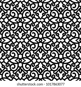 Vector lace texture, black and white swirls ornament, seamless pattern