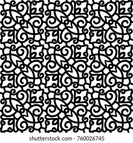 Vector lace texture, curly line ornament, black and white seamless pattern