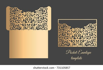 Vector Lacer cut pocket envelope. Ornamental pattern.