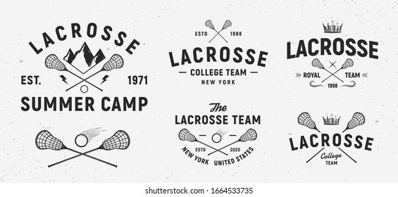 Vector Lacrosse logo set. 5 Vintage lacrosse emblems. Lacrosse stick and ball isolated on white background. Lacrosse club emblems, logo. Sport team, Summer camp, College.