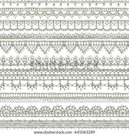 Vector Lacy Crochet Seamless Pattern Sketch Stock Vector Royalty