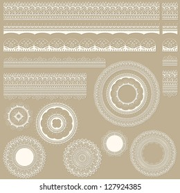Vector lacy vintage design elements, lacy seamless brushes included, shadows at the separate layer, fully editable eps 8 file