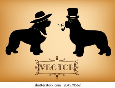 """Vector """"Lady and Gentleman"""" illustration with newfoundland dogs (for example as a WC signs)"""