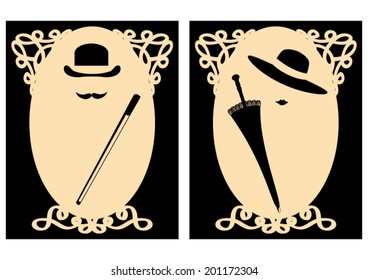 Vector Lady and Gentleman signs (for WC use for example) in retro (vintage) style