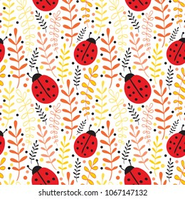Vector Ladybug Seamless Pattern Background. Summer textile print design
