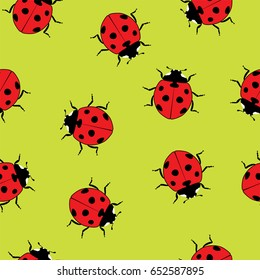vector ladybug seamless pattern. red ladybird cartoon symbols on green background. cute dotted lady bug summer illustration.