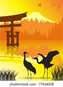 Vector Lake with Torii Gate, Cranes and Fuji in Japan