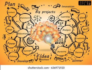 Vector Lamp brain - Plan Business Illustration - Idea Concept modern  - with icon,Line,arrow,Text various.