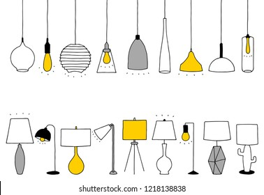 Vector lamps. Outline illustration