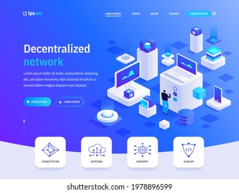 Vector landing page of Decentralized network isometric concept. Cryptocurrency, blockchain technology, mining digital money, protection, finance. Illustration of advertising banner in isometry design