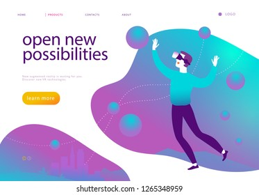Vector landing page design template for new vr technology - man in vr goggle headset, helmet, glasses flying into  augmented virtual reality world. Flat style. Good for web page banner, mobile app, UI