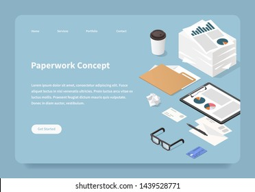 Vector landing page with isometric illustration of working with documents. Stacks of paper, folders, letters, file with documents, credit card, clipboard, pen. Analysing and auditing process concept.