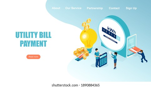 Vector landing page of people paying utility, electricity bills online