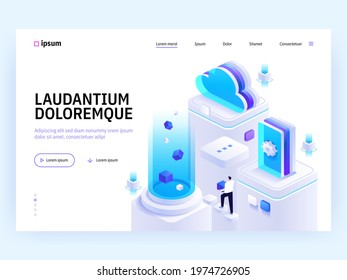 Vector landing page of Tech isometric concept. Cloud storage and computing, product and software development, support and monitoring. Character illustration of advertising banner in isometry design