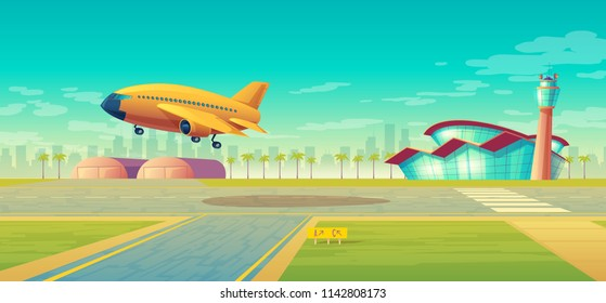 Vector landing strip, takeoff of the plane. Terminal, control room in tower. Asphalt runway for passenger transportation, landscape with hangar, building. Travel concept, background for poster