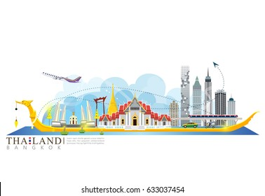 vector landmark of Bangkok Thailand, building in the city.