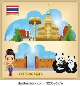 Vector Landmark of Chiang Mai Thailand.