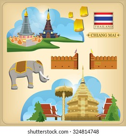 Vector Landmark of Chiang Mai Thailand,Thailand Travel