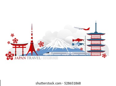 vector landmark of japan background, tokyo city, japan travel icon, high speed train