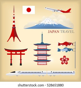 vector landmark of japan background, tokyo city, japan travel icon, high speed train
