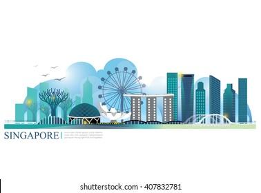 vector landmark of singapore