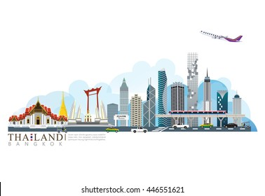 vector landmark of Thailand background, Bangkok city, transportation in city