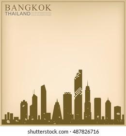 Vector Landmark of Thailand Background solute, Bangkok city Landmark Mahanakorn tower.