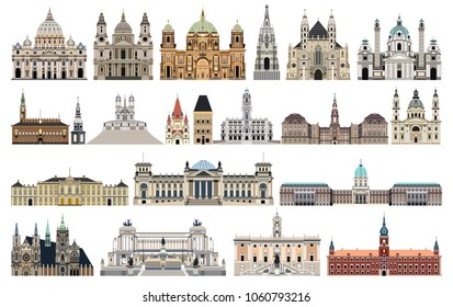 vector landmarks, city halls, cathedrals, temples, churches, palaces and other  skyline elements