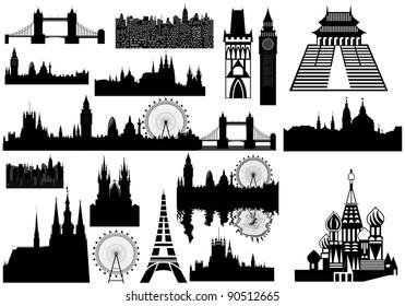 vector landmarks - London, Prague, Paris, Russia