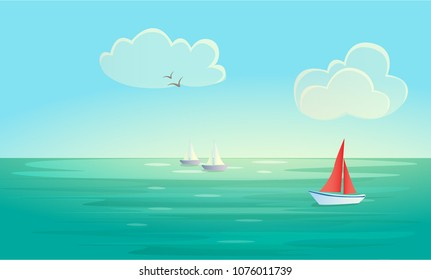 Vector landscape background with blue sea or ocean , red and white boats (ships), white transparent clouds and seagulls. Minimalistic marine landscape. Eps 10