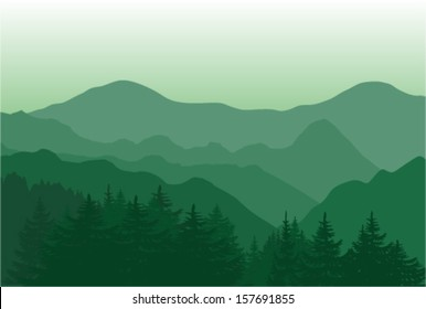 Vector landscape of beautiful green mountains