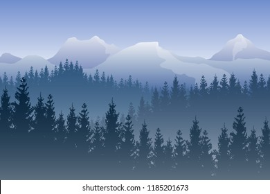 Vector landscape with blue forests and snowy mountains on the background.