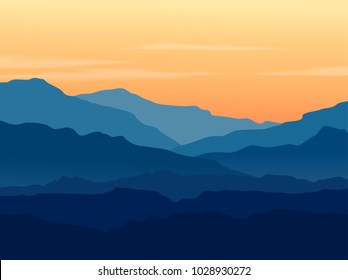 Vector landscape with blue mountains and hills with beautiful orange evening sky. Huge mountain range silhouette in twilight. Vector hand drawn illustration.