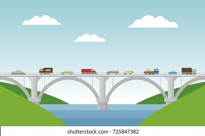 Vector landscape with bridge and cars