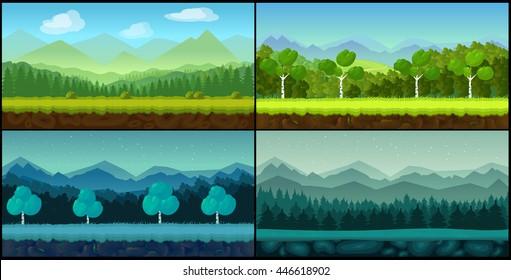 Vector landscape cartoon seamless backgrounds set for game