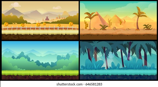 Vector landscape cartoon seamless backgrounds set for game,Vector illustration for your design.Ready for parallax effect