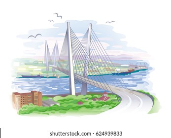 Vector landscape city of Vladivostok, with a bridge across the Golden horn, drawn in imitation of watercolor