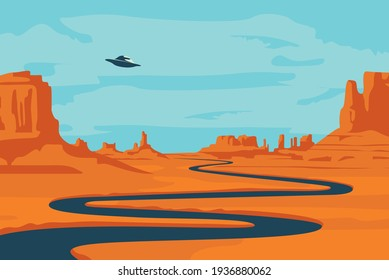 Vector landscape with deserted valley, mountains, dark winding river and flying saucer in the sky. Decorative illustration on the theme of of alien invasion. Western scenery and UFO