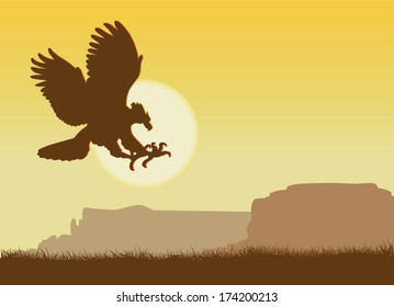 Vector landscape with an eagle against the sun and mountains